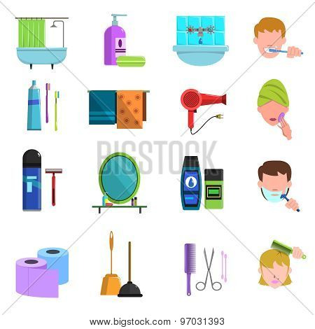 Personal care products flat icons set