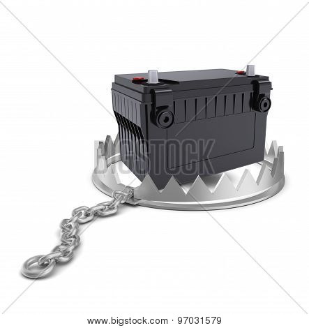 Battery in bear trap