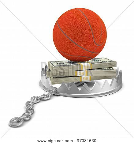 Basketball with money in bear trap