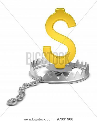 Dollar sign in bear trap