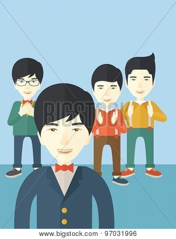 A handsome asian businessmen happy standing showing for their successful in life. . A Contemporary style with pastel palette, soft blue tinted background. Vector flat design illustration. Vertical