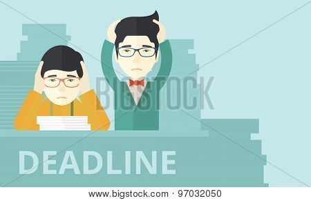 A two aisan empoloyees is burnout  having a problem meeting the deadline, so many paper works to attend to. A Contemporary style with pastel palette, soft blue tinted background. Vector flat design