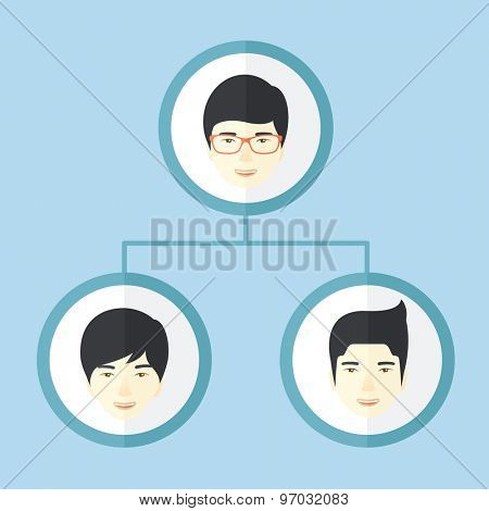 A group of asian man gather to have a business meeting and brainstorming. Business group concept. A Contemporary style with pastel palette, soft blue tinted background. Vector flat design illustration