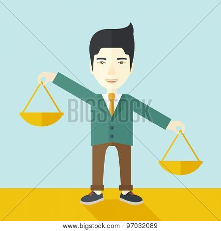 A japanese guy holding a Weighing scale inclined to the other side. Balancing concept. A Contemporary style with pastel palette, soft blue tinted background. Vector flat design illustration. Square