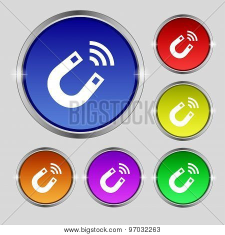 Magnet Icon Sign. Round Symbol On Bright Colourful Buttons. Vector
