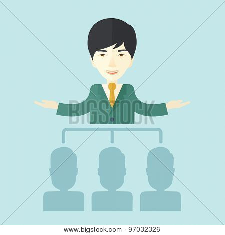 An asian smart gentleman giving a business to his co workers. Business concept. A Contemporary style with pastel palette, soft blue tinted background. Vector flat design illustration. Square layout.