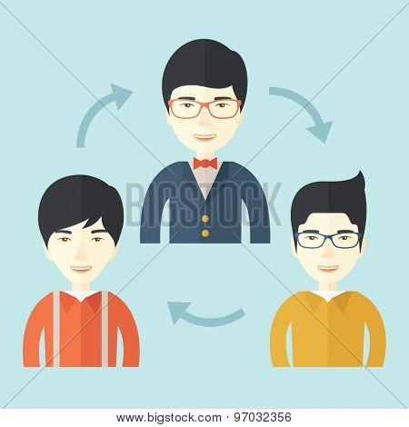 A smiling group young asian are in brainstorming for their marketing presentation. teamwork concept. A Contemporary style with pastel palette, soft blue tinted background. Vector flat design