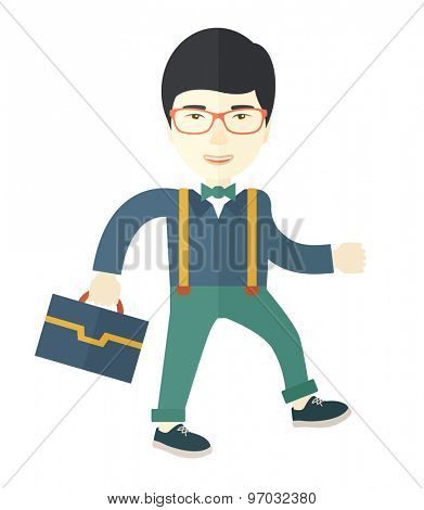 A Young asian businessman walking to attend a business meeting carrying a briefcase. A Contemporary style. Vector flat design illustration isolated white background. Square layout