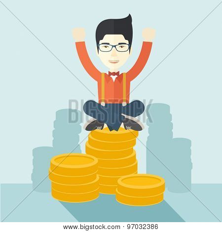 A proud asian businessman sitting on a pile of dollar coins. Successful concept. A contemporary style with pastel palette soft blue tinted background. Vector flat design illustration. Square layout.