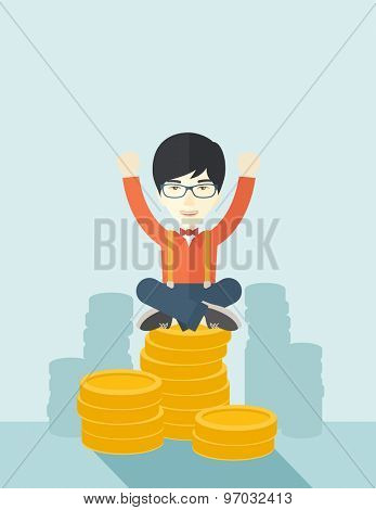 A proud asian businessman sitting on a pile of dollar coins. Successful concept. A contemporary style with pastel palette soft blue tinted background. Vector flat design illustration. Vertical layout