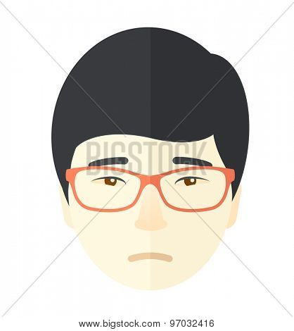 A lonely asian guy. A facial expression of asian man wearing eyeglasses. A Contemporary style. Vector flat design illustration isolated white background. Square layout