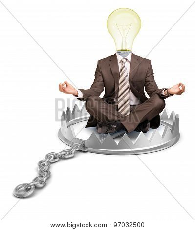 Businessman in bear trap