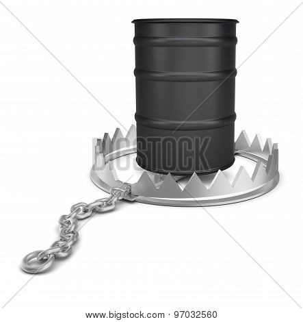 Oil barrel in bear trap