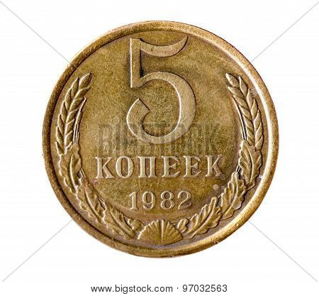Five Kopeck Of The Soviet Union Isolated On A White Background