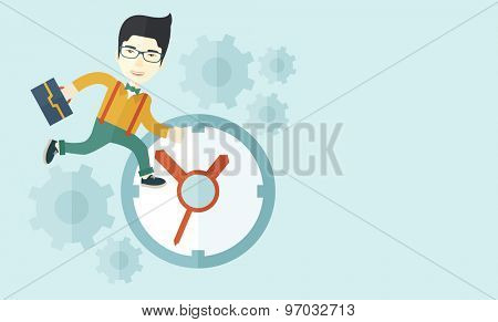 A japanese worker with briefcase is late to Work with a clock symbol. A contemporary style with pastel palette soft blue tinted background. Vector flat design illustration. Horizontal layout with text