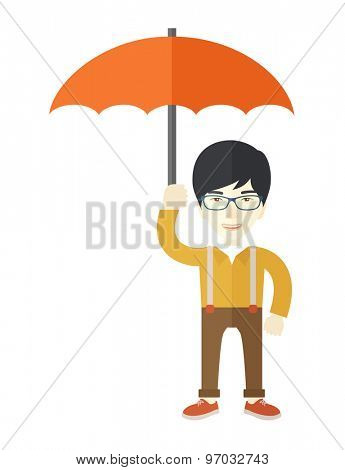 A successful businessman standing with umbrella for his protection against sun and rain. A Contemporary style. Vector flat design illustration isolated white background. Vertical layout.