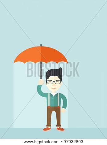 A successful businessman standing with umbrella for his protection against sun and rain. A contemporary style with pastel palette soft blue tinted background. Vector flat design illustration. Vertical