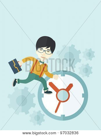 A japanese worker with briefcase is late to Work with a clock symbol. A contemporary style with pastel palette soft blue tinted background. Vector flat design illustration. Vertical layout with text