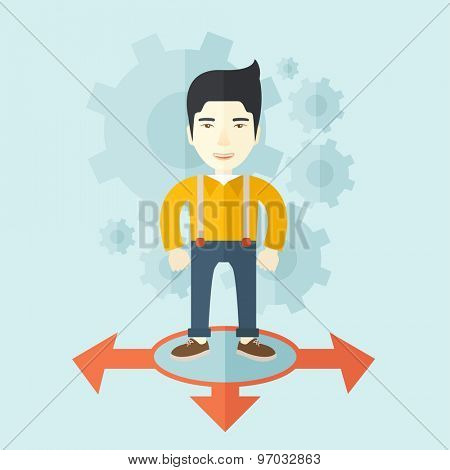 A chinese businessman standing on three ways arrows for selection. Business concept. A contemporary style with pastel palette soft blue tinted background. Vector flat design illustration. Square