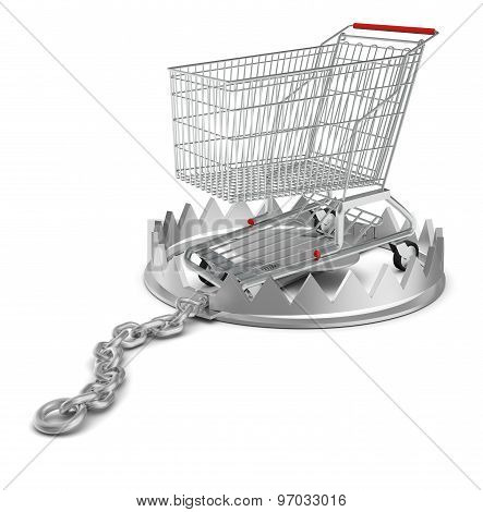 Shopping cart in bear trap