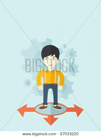 A chinese businessman standing on three ways arrows for selection. Business concept. A contemporary style with pastel palette soft blue tinted background. Vector flat design illustration. Vertical