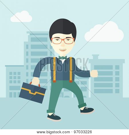 A Young chinese businessman walking through the city streets to attend a business meeting carrying a briefcase. A contemporary style with pastel palette soft blue tinted background with desaturated