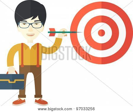 A working chinese man with strategy on how to get his target market sales higher. Market strategy concept. A Contemporary style. Vector flat design illustration isolated white background. Square