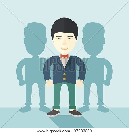 A very confident japanese guy standing straight showing that he has a strong teambuilding togetherness. Teamwork concept. A contemporary style with pastel palette soft blue tinted background. Vector