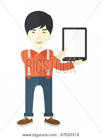 An asian guy holding a digital tablet use for his business. A Contemporary style. Vector flat design illustration isolated white background. Vertical layout