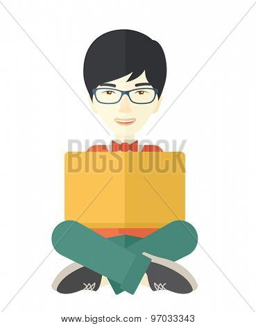 A chinese guy having a great idea while reading a book. Business concept. A Contemporary style. Vector flat design illustration isolated white background. Vertical layout