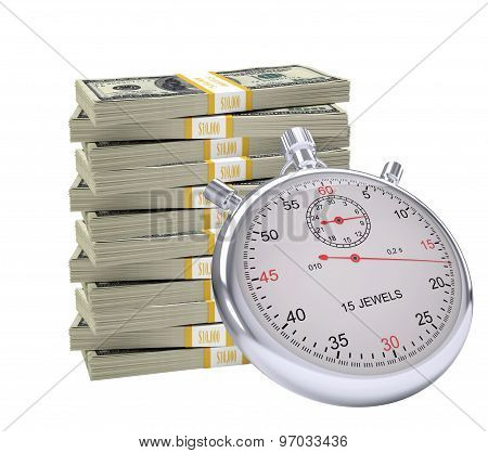 Timer with pile of money