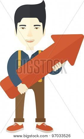 A happy and lucky young chinese guy holding arrow growing sign, successful in business career. Prosperity concept. Vector flat design illustration isolated on white background.