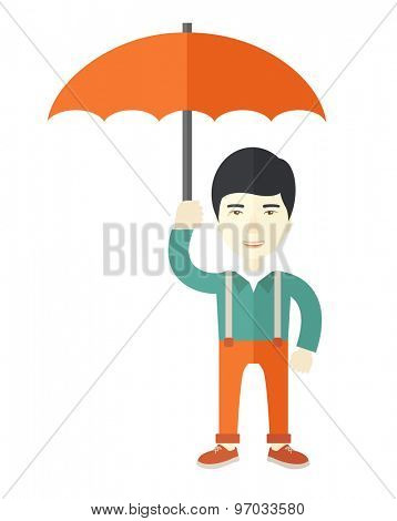 A chinese businessman standing holding umbrella for his protection in any calamity. A Contemporary style. Vector flat design illustration isolated white background. Vertical layout