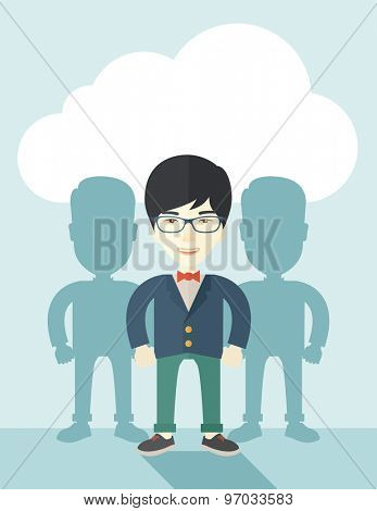 A very confident japanese guy standing straight showing that he has a strong teambuilding togetherness. Teamwork concept. A contemporary style with pastel palette soft blue tinted background with