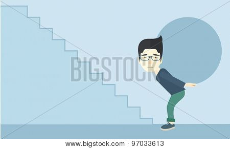 A chinese buisnessman sacrifice in carrying a big ball going up to reach the goal. A Contemporary style with pastel palette, soft blue tinted background. Vector flat design illustration. Horizontal