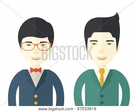A two businessmen smiling to each other showing that they are happy for their business. A Contemporary style. Vector flat design illustration isolated white background. Square layout.