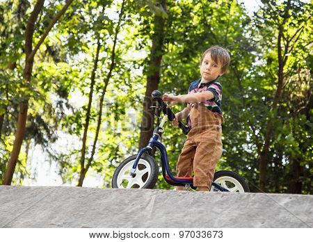 Small boy with a balance bike on a hill