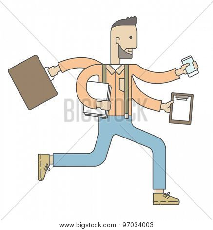A multitasking job is a man with many hands with successful planning elements, can handle many paper works. Time management concept. A Contemporary style. Vector flat design illustration isolated
