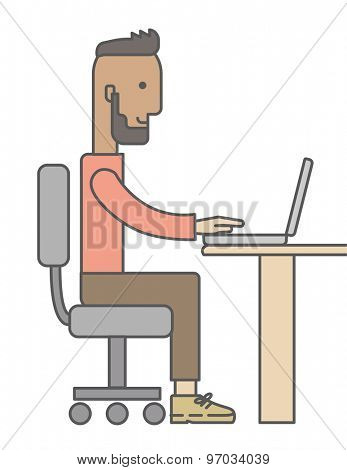 Young happy Caucasian man sitting infront of a table with computer laptop and thinking what to write in e-mail inside his office. A Contemporary style. Vector flat design illustration isolated white