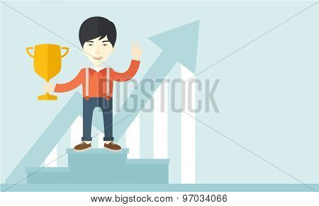 A chinese businessman proudly standing on the winning podium holding up winning trophy and showing an arrow pointing upward as his success. Winner concept. A Contemporary style with pastel palette