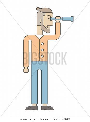 A Caucasian businessman standing using binocular to look over the graph that shows increasing in sales. Growing business concept. A Contemporary style. Vector flat design illustration isolated white