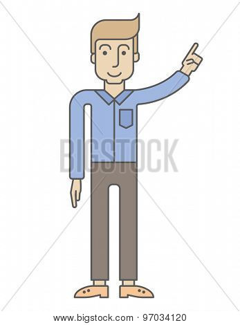 A businessman raising point finger. A Contemporary style. Vector flat design illustration isolated white background. Vertical layout