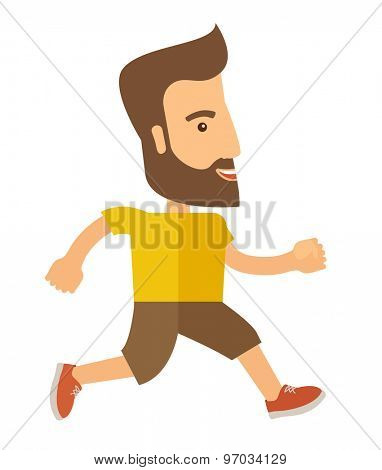 A caucasian do a jogging exercise. Healthy concept. A Contemporary style. Vector flat design illustration isolated white background. Vertical layout.