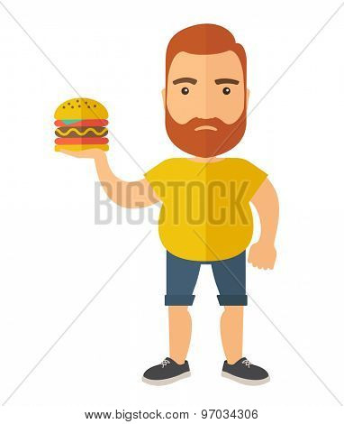 A Hamburger holding by a man with fitness attire. A Contemporary style. Vector flat design illustration isolated white background. Vertical layout.
