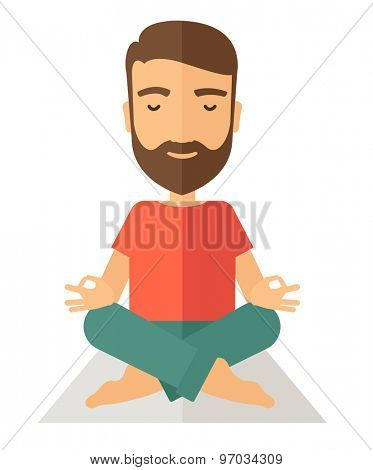 A hipster man doing yoga. A Contemporary style. Vector flat design illustration isolated white background. Vertical layout.