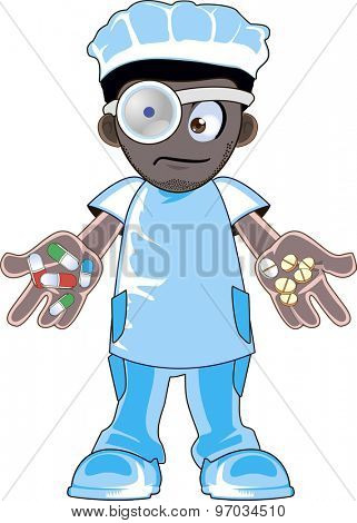 Illustration of a cartoon african american doctor holding pills