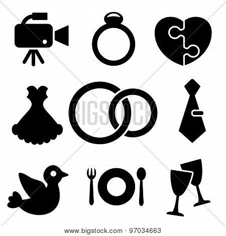 Wedding Web And Mobile Logo Icons Collection