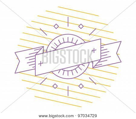 Vector linear logo template. Abstract arrow shape and symbol, icon or frame, border, line. Stock