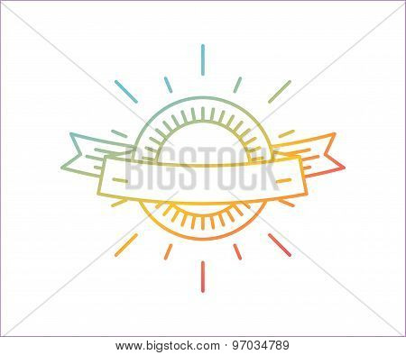 Vector linear logo template. Abstract arrow shape and symbol, icon or frame, border, line. Stock ill