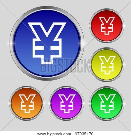Yen Jpy Icon Sign. Round Symbol On Bright Colourful Buttons. Vector